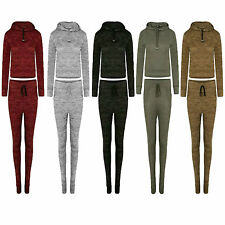 Womens Ladies Stretch Hoodie Crop Top Bottoms Full Tracksuit Casual Lounge Suit