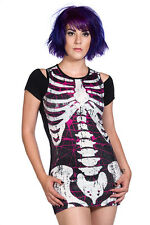 dress womens (tunic) BANNED - Sequins Skeleton - Black - OBN130