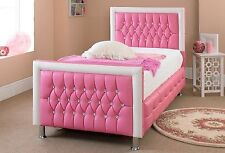 Girls Princess Bed 3FT Single Pink White Bed Diamond Faux Leather Bed