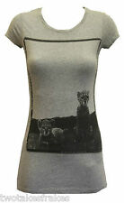 AllSaints Jaguars Scooped Round Neck Womens Grey Tee T Shirt Top RRP £40 NEW