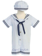 New Baby Boys Blue Seersucker Cotton Sailor Nautical Romper Outfit Set 2 Pc G255