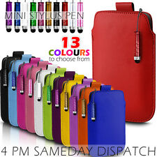 LEATHER PULL TAB SKIN CASE COVER POUCH+MINI STYLUS FOR VARIOUS ALCATEL PHONES
