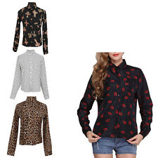 New Ladies Chiffon Button Front Loose Casual Print Shirt Long Sleeve Blouse Tops
