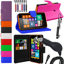 Stand Wallet Flip Case Cover, LCD Film, Pen & Car Charger For Nokia Lumia 630