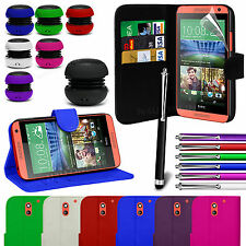 Stand Wallet Flip Case Cover, LCD Film, Stylus Pen & Speaker For HTC Desire 610