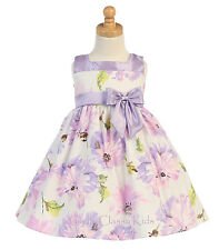 New Toddler Kids Girls Cotton Print Lilac Dress Pageant Wedding Easter Party 708