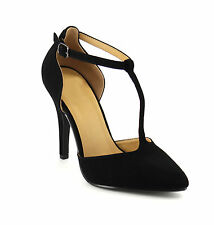 Beston Women's T-strap Stiletto Heel D'Orsay Style Party Dress Pumps KOLETTE-S