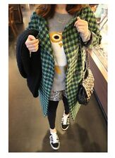 Women's 2016 New Fashion Korean Style Slim Long Sleeve Houndstooth Woolen Coat