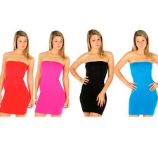 Tube Mini Dress Strapless Stretch Tight Fitted Club Body Con Seamless One Size !