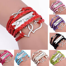 Charming Infinity Double Heart Multilayer Hand-woven Charm Bracelet Jewelry Gift
