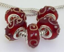 5PCS Silver Murano Lampwork Glass Beads fit European Charm Bracelet IL129