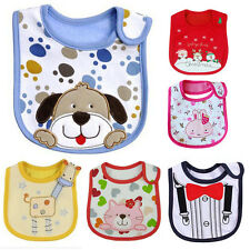 1×Baby Cute Towel Saliva Waterproof Kids Cartoon Toddler Infant Bibs 3 Layers