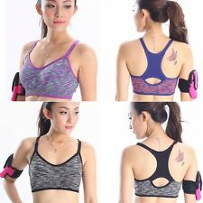 Fashion Women Sports Yoga Stretch Workout Tank Top Seamless Racerback Padded Bra