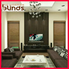 NEW! 60 x 210 Bamboo Roman Blind Blinds Teak & Black Room Darkening Ready Made