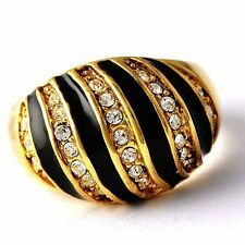Women's Cubic Zirconia Black Enamel Gold plated Cocktail Ring size 8 9 10