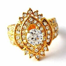 Womens Vintage Gold plated Jewelry Cubic Zirconia Eye Band Ring Size7 8 9