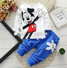 Cute Baby Boys Kids Toddler Mickey Mouse Clothing Cotton Tops Pants Set Outfits