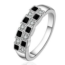 New Women 925 Sterling Silver Black Filled Crystal Wedding Engagement Band Ring