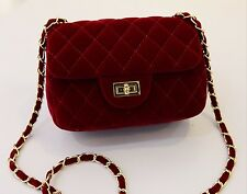 Quilted Velvet Chain Strap Handbag Crossbody Quilted Flap Bag Large or Small