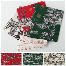 REINDEER TOILE CHRISTMAS FAT QUARTER 100% COTTON PATCHWORK QUILTING CRAFT FABRIC