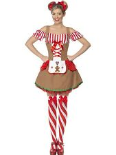 Adult Womens Gingerbread Woman Costume Smiffys Christmas Fancy Dress - 2 Sizes