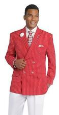 New E J Samuel 2 PC Double Breasted Red White High Fashion Pinstripe Suit M2682