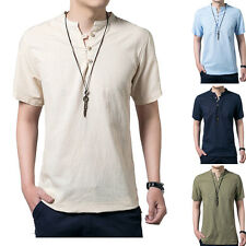 Vintage Mens Casual Linen T-shirts Short Sleeve Loose Fit Henley Tee t-Shirt