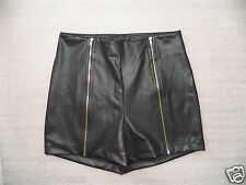 NWT bebe black double zipper high waist hot party club mini shorts XS S M L