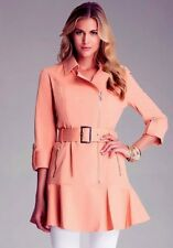 NWT bebe coral belt trim ruffle hem pleat dress top sexy trench jacket XS S M L
