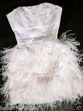NWT bebe addiction isis XS S M L lace light pink feather top dress strapless