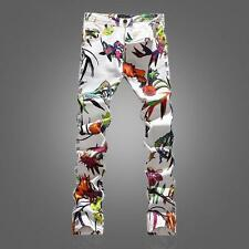 Korea Mens Fashion Printing Long Cotton Spring Trousers Floral Jeans Pants B69