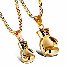Fashion His and Hers Stainless Steel Boxing Glove Pendant Couples Necklace Gold