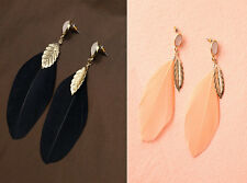 1Pair New Fashion Simple Feather Leaf Earrings Dangle Eardrop Ear Stud Jewelry