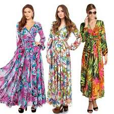 Fashion Women V-Neck Floral Pleated Maxi Cocktail Party Evening Beach Long Dress