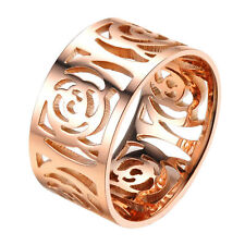 Charm Womens Rose Gold Tone Ring Stainless Steel Hollow Out Flower Design 10mm