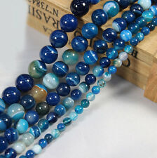 Charms 10-40X Natural Blue Striped Agate Round Gemstone Loose Spacer Beads Stone