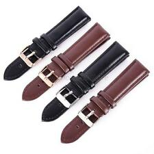 Unisex Men Lady Genuine Leather Watch Strap Band 2Colors Watchband Metal Buckle