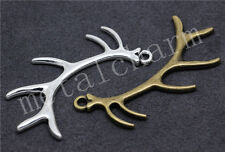 8/40pcs Antique Silver Beautiful 3D Antlers Jewelry Charms Pendant DIY 66x27mm
