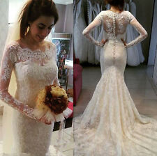Amazing Wedding Dress Long Sleeve Lace Mermaid  New Bridal Gowns Custom Made