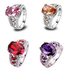4Color Oval Cut Gemstones & White Topaz Silver Ring Women Girl Gift Size 6 7 8 9