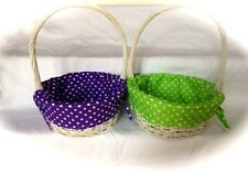 White Painted Willow Easter Basket w/ Dot Liner & FREE Personalization! 2 Colors