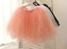 Girls Tulle Lace Mesh Skirt with Pearls Pink Grey Black