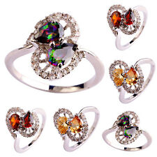 Rainbow Topaz & Morganite Gemstone 18k White Gold Plated Silver Ring Size 5-12