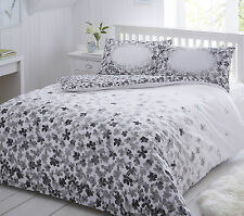 Grey Scattered Floral Duvet Bed Quilt Cover & Pillowcase Set Single Double King