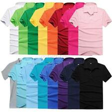 Mens Casual Lapel POLO Shirt Short Sleeve Solid Color Tee T-shirt M L XL XXL 3XL