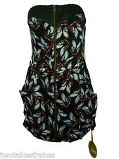Fairground By Motel Rocks Dress Strapless Black With Blue Wings Design Bnwt NEW