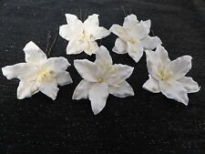 3 white lillies lily flower hair pins kirby grips wedding bridal prom party