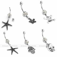 1pc 14G Stainless Steel CZ Crystal Barbell Belly Navel Ring Sexy Dangle Piercing