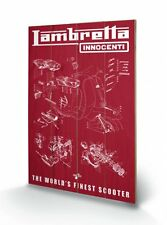 Lambretta The Worlds Finest Scooter Wooden Wall Art Officially Licensed
