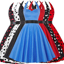 Cocktail Stock Retro Vintage Halter Polka Dots Party 1950s Evening Swing Dress